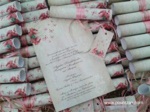 Πρόσκληση Γάμου & Βάπτισης Α4 Ρολό ΡΟΜΑΝΤΙΚΟ ΛΟΥΛΟΥΔΙΑ VINTAGE με κορδέλα & Καρτελάκι. Χαρτί Λευκό Οπαλίνα 120γρ. 1,70 €/τεμ.