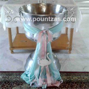 Διακόσμηση Κολυμπήθρας με θέμα τον ΚΥΚΝΟ σε ροζ, σάπιο μήλο & μέντα, με γάζα & κορδέλες.