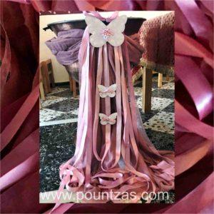 Διακόσμηση Κολυμπήθρας με θέμα ΠΕΤΑΛΟΥΔΑ σε ροζ & σάπιο μήλο με γάζα & κορδέλες.