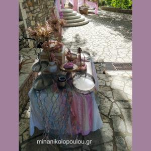 Διακόσμηση τραπεζιού γλυκών με θέμα γοργόνα σε ροζ & χρυσό