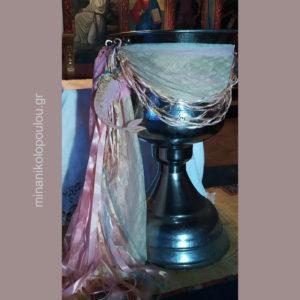 Διακόσμηση Κολυμπήθρας με θέμα ΓΟΡΓΟΝΑ σε ροζ & χρυσό με δαντέλα, δίχτυ & κορδέλες.