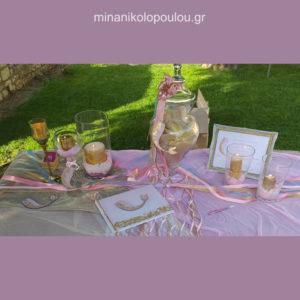 Διακόσμηση τραπεζιού ευχών με θέμα γοργόνα σε ροζ & χρυσό