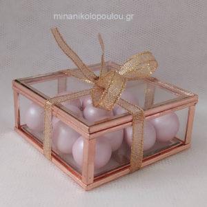 Κωδ. BCR-4000 Μπομπονιέρα Βάπτισης Κουτάκι από γυαλί & μέταλλο (χρυσό, ασημί ή ροζ-χρυσό), 13 κουφέτα, δέσιμο με κορδέλα ροζ-χρυσό. Για 50-150 τεμ. 3,45 €/τεμ.