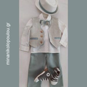 κωδικός Α-1005 Βαπτιστικά ρούχα για Αγόρι. Παντελόνι καπαρντίνα μέντα, γιλέκο εκρού-μπεζ-μέντα μπροκάρ & Πουκάμισο ποπλίνα λευκό. Παπιγιόν & Καπέλο. (12-18 μηνών). 130,00 €. Παπούτσια 50,00 €. ΕΤΟΙΜΟΠΑΡΑΔΟΤΟ