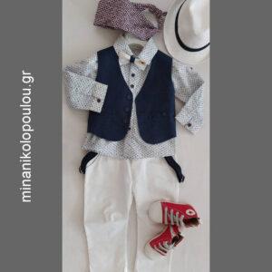 κωδ. piccolino TONY WHITE. Βαπτιστικά ρούχα για Αγόρι, (γιλέκο μπλε, πουκάμισο βαμβακερό λευκό με σχέδια, παντελόνι βαμβακερό σε χρώμα λευκό, παπιγιόν με ξύλινη λεπτομέρεια, τιράντες και καπέλο με φάσα) (12-18 μηνών). 150,00 €. Παπούτσια 50,00 €. ΕΤΟΙΜΟΠΑΡΑΔΟΤΟ