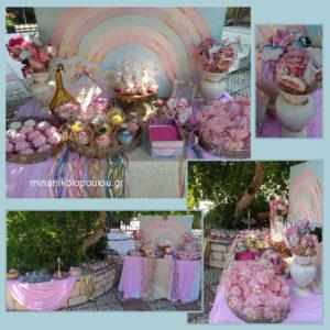 Διακόσμηση τραπεζιού γλυκών με θέμα Ουράνιο Τόξο σε ροζ & χρυσό