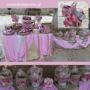 Στολισμός Βάπτισης Candy Bar στην Εκκλησία με θέμα Πεταλούδες & Λουλούδια σε Κλουβιά.